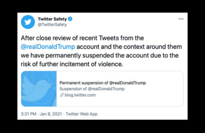 Twitter has permanently suspended Donald Trump's account