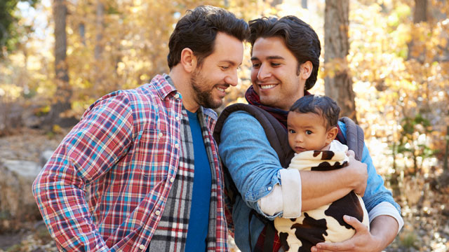 A gay couple with child