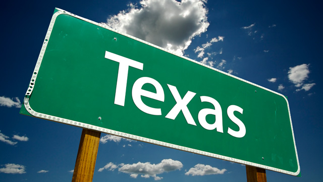 Road sign reading Texas