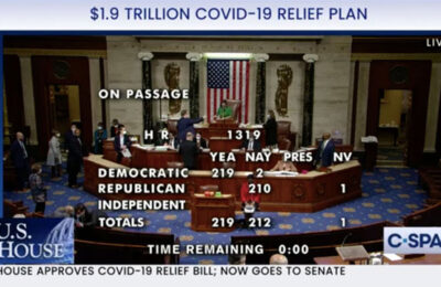 The House votes 219-212 in favor of President Biden's COVID stimulus package