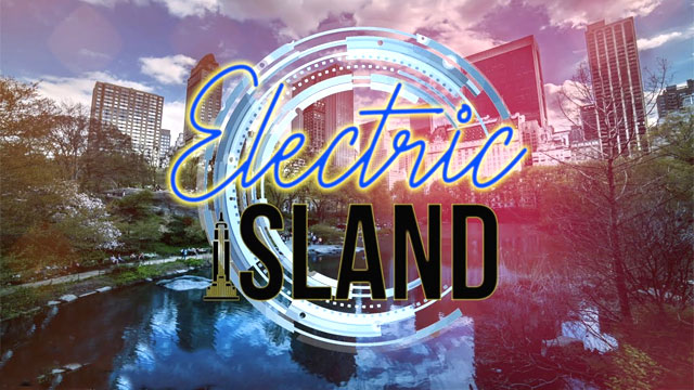 "Cover image for the new musical ""Electric Island"""