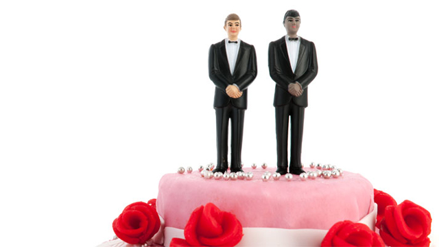 Wedding cake with two grooms