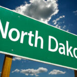 Highway sign reading North Dakota