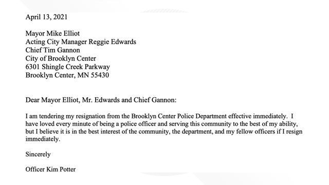 Kim Potter, who shot and killed a 20-year-old Black man, resigned from the Brooklyn Center Police Dept