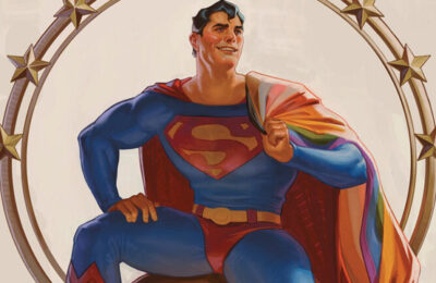 Superman with an LGBTQ Pride flag