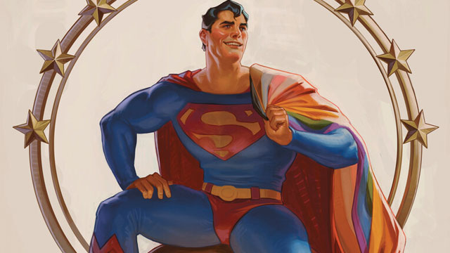 Superman with an LGBTQ Pride flag