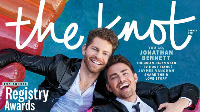 TV hosts Jaymes Vaughan and Jonathan Bennett are the first gay couple to appear on the cover of The Knot Magazine