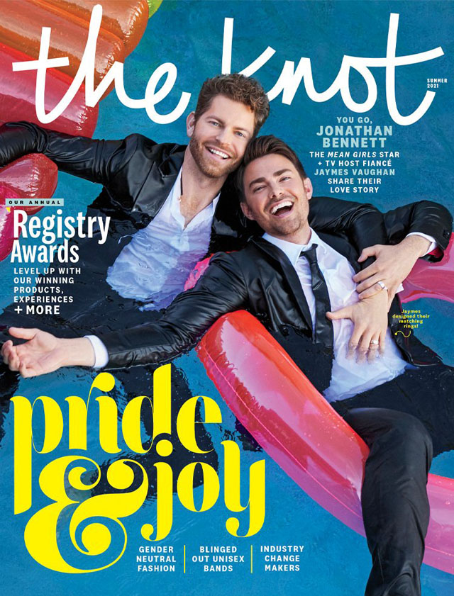 Jaymes Vaughan and Jonathan Bennett cover The Knot Magazine