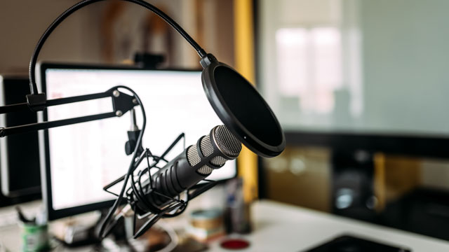 Photo of a podcasting studio
