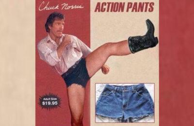Chuck Norris models 'Action Pants'