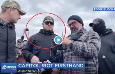 Ethan Nordean (circled) in a photo provided by the Justice Dept and Eddie Block Films