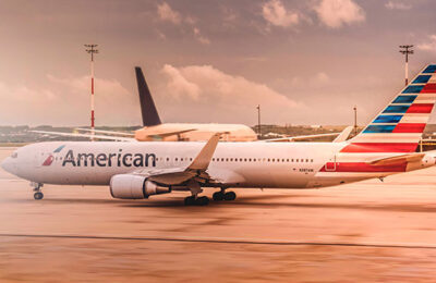 An American Airlines plane on the tarmac