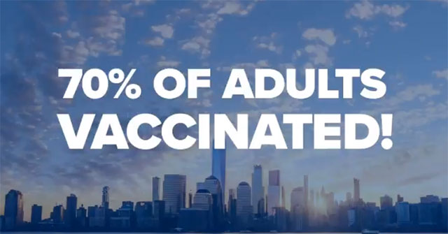 New York state is dropping COVID-19 restrictions as vaccination rates among adults passes 70 percent mark