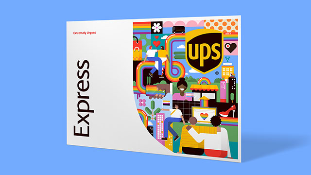 The new artwork by xxx designed for UPS for Pride Month