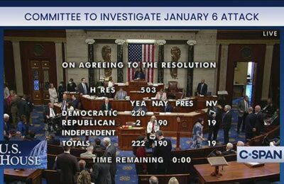 The House of Representatives voted to create a select committee to investigate the January 6 invasion of the U.S. Capitol building
