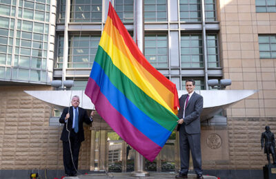 US Embassy in Russia flies the rainbow flag in honor of Pride Month