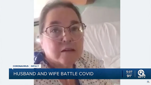 Cindy, of Jupiter, Florida, has been hospitalized for 14 days after being diagnosed with COVID-19. She chose not to be vaccinated.