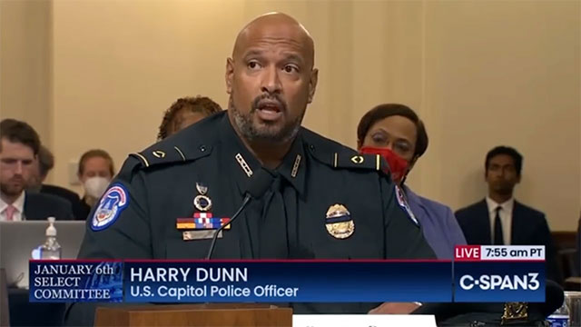 Capitol Police officer Harry Dunn testifies before the select House committee investigating the January 6 insurrection