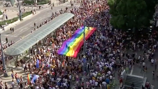 Participants turned out in record numbers for Budapest Pridec (screen capture via Reuters/AP video