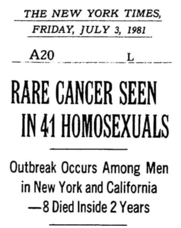 Headline in the New York Times on July 3, 1981 - first mention of what would become the AIDS epidemic