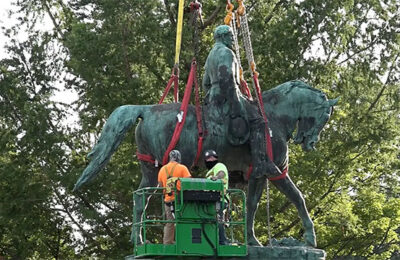 Statue of Robert E. Lee removed from its pedestal in Charlottesville, VA