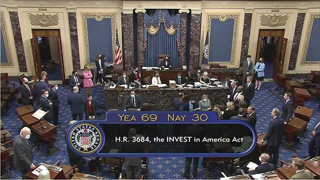 $1.2 trillion Infrastructure bill passes in U.S. Senate 69-30