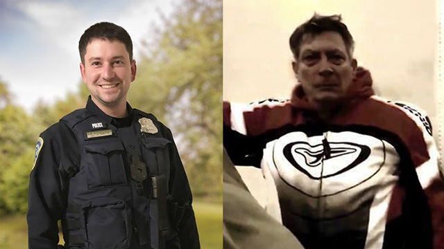 Officer Jeffrey Smith, left, was assaulted on Jan. 6 during a battle that involved the man on the right.