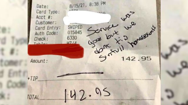 Homophobic restaurant guests refused to tip their waiter when they perceived him to be a 'sinful homosexual'