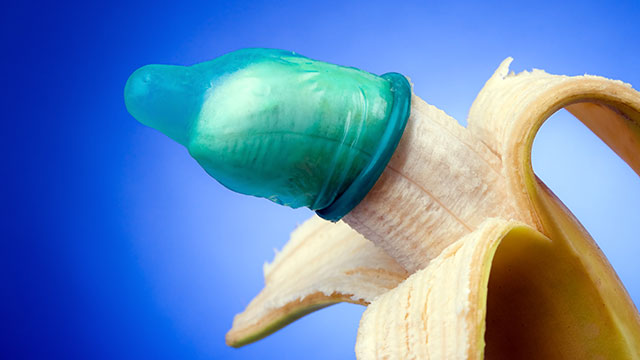 Banana wearing a condom. California could become the first state to criminalize stealthing or removing a condom during sex without consent.