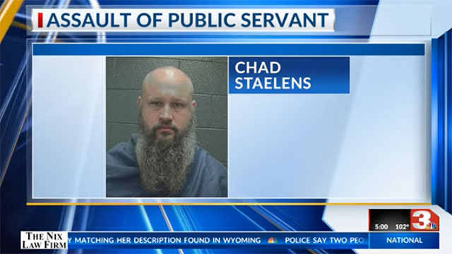 Chad Staelens was arresting for biting a hospital security guard's thumb to the bone