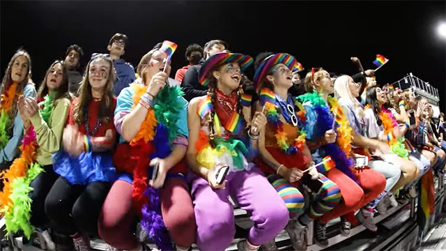 A Vermont high school homecoming football game featured a drag show and Pride colors in the bleachers